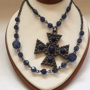 Clear Blue and Silver Colors Cross Necklace